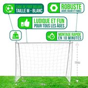 MINI CAGE - MINI BUT  Cage de football Deluxe M - 150 x 110 x 60 cm - Blanc
