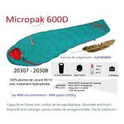 MICROPAK 600 D - Sac de couchage moins 4°C.-zip Gauche-Plume -sac de couchage léger 580gr.