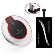 Chargeur QI sans fil-Qi Standard Wireless Charger and Type-C Charging Receiver Kit for Type-C Mobile Phone