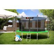 HS Hop-Sport Trampoline de jardin rond 430 cm avec filet de sécurité intérieur; échelle; bâche de protection (Vert)