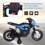 Moto électrique pour enfants 25 W 6 V 3 Km/h effets lumineux et sonores roulettes amovibles bleu