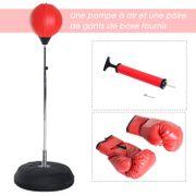 Punching ball sur pied réglable en hauteur 141-161 cm avec gants, pompe et base de lestage rouge 59RD