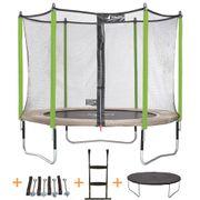 Kangui - Trampoline de jardin 305 cm + filet de sécurité + échelle + bâche de protection + kit d'ancrage JUMPI ZEN 300.Certifié CRITT sport & loisirs