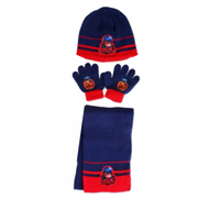 Ensemble 3 Pièces Bonnet + écharpe + gants Ladybug Miraculous bleu Taille unique
