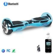 COOL&FUN Hoverboard Bluetooth 6.5 Pouces, Gyropode Overboard Certifié CE et ROHS, Bleu Chromé