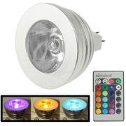 Lampe pour croissance plante-MR16 3W RGB Flash Ampoule à LED , Flux Lumineux: 240-270lm, avec Contrôleur à Distance