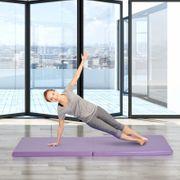 Tapis de gymnastique yoga pilates fitness pliable portable grand confort 180L x 60l x 5H cm simili cuir mauve