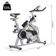 Vélo d'appartement cardio vélo biking capteurs de pouls intégrés + écran LCD multifonction argenté