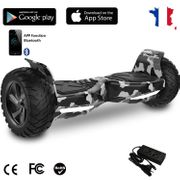 EVERCROSS Hoverboard Bluetooth 8.5 pouces,  Gyropode Overboard avec Application, SUV Hummer Tout Terrain, Camouflage/Vert Armé