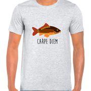 T Shirt Col Rond Imprime Carpe Diem