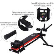 Appareil abdominal banc de musculation L 40 x P 116 x H 87 cm moniteur LCD angle d'inclinaison réglable acier noir rouge 78