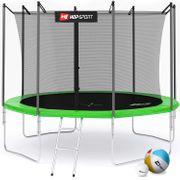 HS Hop-Sport Trampoline de jardin ronde 305 cm/4 pieds cm avec filet de sécurité intérieur; échelle; bâche de protection Verte