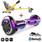 Mega Motion Hoverboard bluetooth 6.5 pouces, M2 Violet chromé + Hoverkart Hip, Gyropode Overboard Smart Scooter certifié, Kit kart