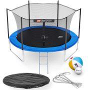 HS Hop-Sport Trampoline ronde de jardin 305 cm/3pieds avec filet intérieur; échelle; bâche de protection Bleue