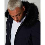 Parka veste bleu marine à capuche fourrure stylé 88185530 homme
