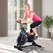 Vélo d'appartement cardio vélo biking écran multifonction selle et guidon réglable noir rouge blanc