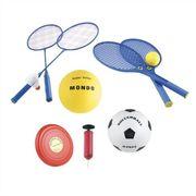 BALLON DE FOOTBALL  - Set Multisport Jeux de plage 5 en 1 (Badminton, Tennis, Volley, Football, Freesbee)
