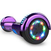 Cool&Fun Hoverboard 6.5 Pouces, Gyropode avec Bluetooth et Pneu à LED de couleur, Overboard Certifé CE, UL, Violet Chromé