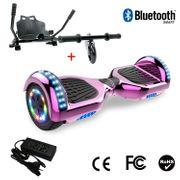 Cool&Fun Hoverboard 6.5 Pouces avec Bluetooth Rose chromé+ Hoverkart Noir, Gyropode Overboard Smart Scooter certifié, Pneu à LED de couleur, Kit kart