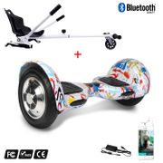 Cool&Fun Hoverboard Gyropode 10 Pouces Bluetooth Graffiti  + Hoverkart blanc, Overboard Smart Scooter certifié, Kit kart