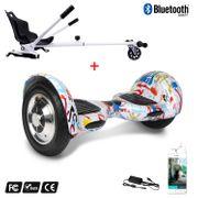 Cool&Fun Hoverboard Gyropode 10 Pouces Bluetooth Graffiti  + Hoverkart blanc, Overboard Smart Scooter certifié, Kit kart