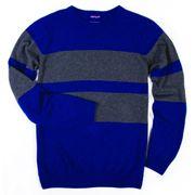 L.BOLT Cashmere Blend Double Stripe Crewneck state blue