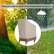 Housse de protection chaises de jardin empilables bâche étanche 70L x 90l x 115H cm oxford haute densité 600D beige café