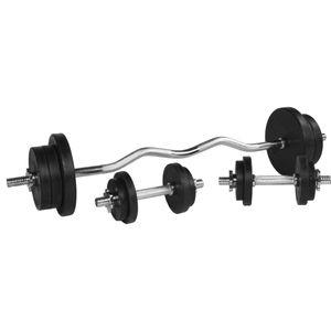 Musculation  GORILLA Gorilla Sports - Set d´haltères disques en fonte revêtement caoutchouc + barre Curl 70 Kg