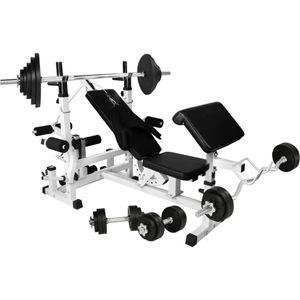 Musculation adulte GORILLA Gorilla Sports - Banc de musculation universel avec support pour haltères et set d´haltéres en caoutchouc de 105,5kg