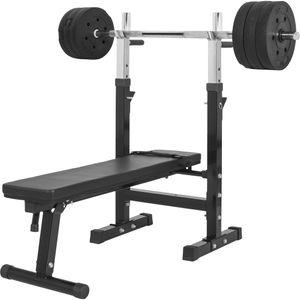 Musculation  GORILLA Gorilla Sports - Banc de musculation GS006 + Set disques en plastiques et barre longue 38KG