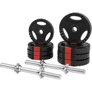 Musculation  GORILLA Gorilla Sports - Set d'haltères courts + disques revêtement plastiques avec poignées 20 Kg