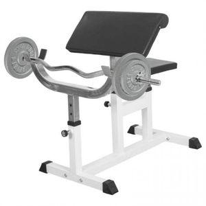 Musculation adulte GORILLA Gorilla Sports - Banc de musculation curl pour entrainer les biceps + Barre EZ + 2 x 10kg et 2 x 5kg en fonte