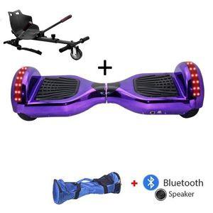 Glisse urbaine  AIR RISE Pack Hoverboard 6,5 LED violet+ Hoverkart Noir