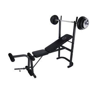 Musculation  O'FITNESS Banc de musculation avec barre + poids 20KG O'Fitness