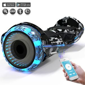 Colorway Hoverboard Colorway CX911 - Bluetooth + APP - 6.5 Pouces Camouflage, Gyropode Overboard Smart Scooter certifié