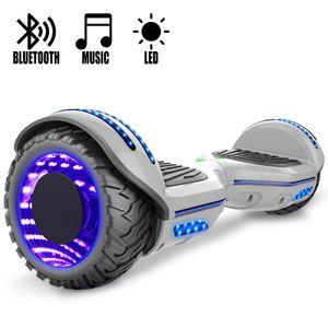COOL&FUN COOL&FUN Hoverboard Gyropode Bluetooth 6.5 pouces, Roues lumineuses à LED de couleur et Bande de LED, Gris