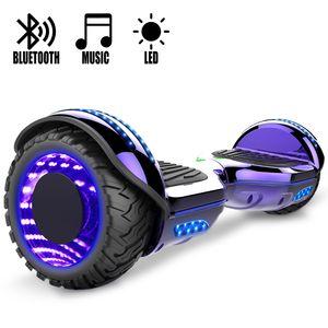 COOL&FUN COOL&FUN Hoverboard Gyropode Bluetooth 6.5 pouces, Roues lumineuses à LED de couleur et Bande de LED, Violet Chromé