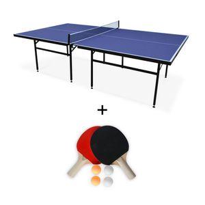 ALICE'S GARDEN Table de ping pong INDOOR bleue Nagano- table + 2 raquettes, 4 balles, utilisation intérieure, sport tennis de table