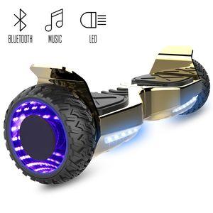COOL&FUN Cool&Fun Hoverboard Hummer 6.5 Pouces, Gyropode SUV Tout-Terrain, avec Bluetooth et Roues lumineuses à LED, Or/Doré Chromé