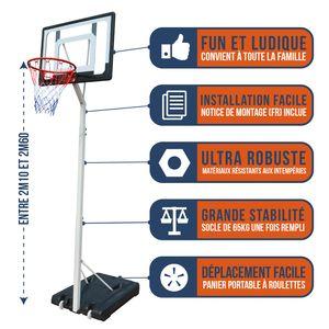 Basketball  BUMBER Panier de Basket BUMBER CHARLOTTE Hauteur réglable de 2.1m a 2.6m