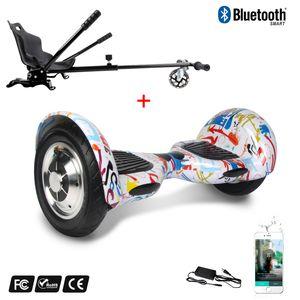 Glisse urbaine  COOL&FUN Cool&Fun Hoverboard Gyropode 10 Pouces Bluetooth Graffiti  + Hoverkart Noir, Overboard Smart Scooter certifié, Kit kart