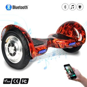 Glisse urbaine  COOL&FUN COOL&FUN Hoverboard 10 pouces avec Bluetooth, Gyropode  Overboard de couleur Rouge Flamme