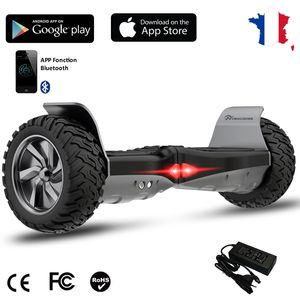 Glisse urbaine  EVERCROSS EVERCROSS Hoverboard Bluetooth 8.5 pouces,  Gyropode Overboard avec Application, SUV Hummer Tout Terrain, Noir