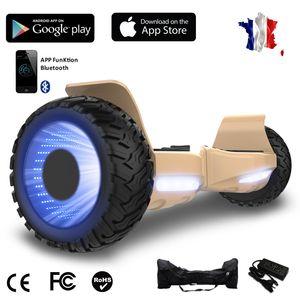 Glisse urbaine  COOL&FUN Hoverboard bluetooth tout terrain 8.5 pouces, Gyropode Hummer SUV 4x4 Challenger, Roues Lumineuses à LED, Bluetooth + App de contrôle + Sac de transport, Or