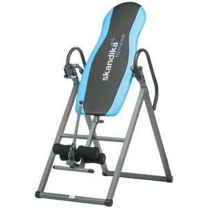 Fitness  SKANDIKA Gravity Coach - Table d'inversion pliante pour exercices du dos - 4 positions - Jusqu'à 135kg - Gris et Bleu