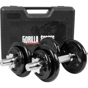 Musculation  GORILLA Gorilla Sports - Paire d'Haltères en fonte 20kg avec valise