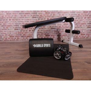 Musculation  GORILLA Gorilla Sports - Six Pack Abdominaux Set 4 éléments - coussin, core wheels, Tapis de Yoga, Banc abdominaux