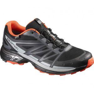 running homme SALOMON Salomon - Wings Pro 2 GTX chaussures de running pour hommes (gris foncé/orange)