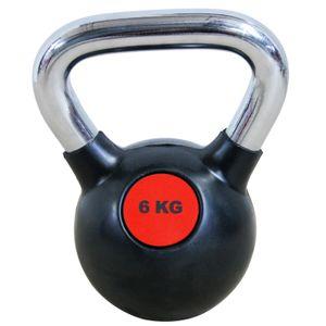Musculation  LEADERFIT' KETTLEBELL ROUGE ET NOIR - 6 KG