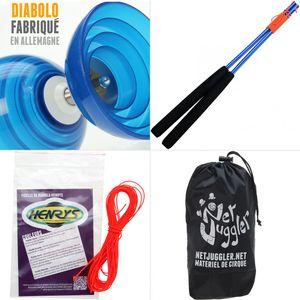Cirque  HENRYS Diabolo Beach Free Bleu + Baguettes Alu Bleu + 10m Ficelle Orange + Sac